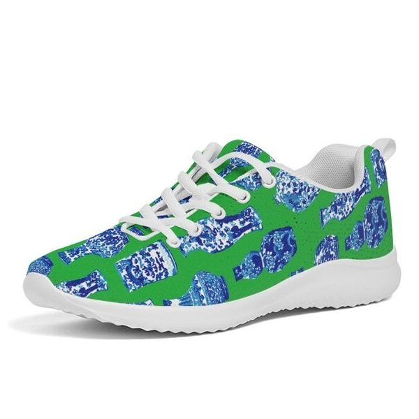 Green chinoiserie sneakers from Stylin Brunette