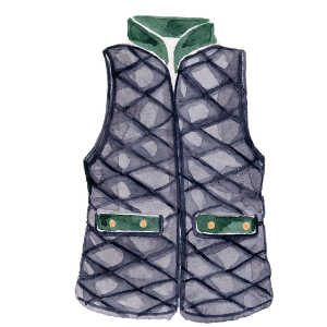 Watercolor painted image of a cute black and hunter green puffer vest