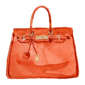 Watercolor painted image of a fashionable orange purse
